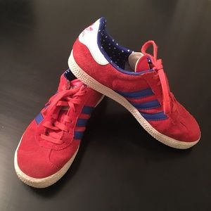 Adidas Gazelle suede sneakers rare red and blue